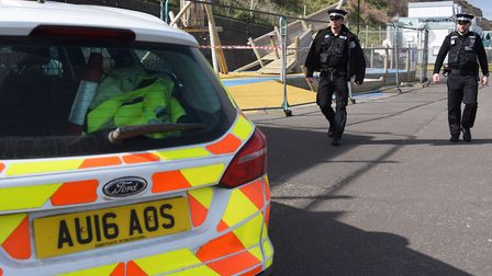 Cromer police Pc Joey Mezzetti, left, and PC Cameron Askew, check the closed play park. Picture: DEN