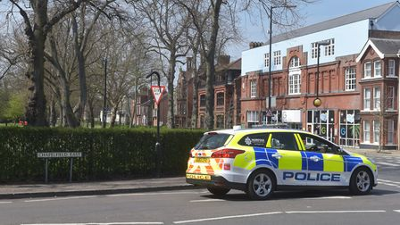 Police patrol at Chapelfield Gardens in Norwich on Easter weekend. Picture: Brittany Woodman