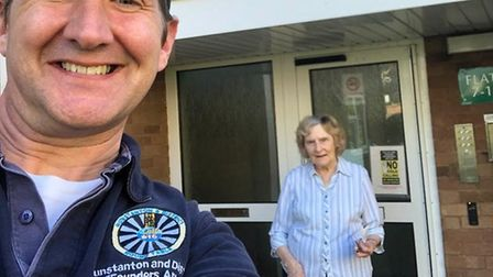 Hunstanton Round Table chairman Matt Hallard, out delivering food to eldely people in lockdown Pict