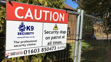 Security warning signs up on new fencing at the old Officers' Mess building at the former RAF Coltis