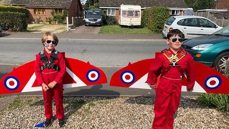 Brothers Connor and Issac Reeder, from Long Stratton, treated the town to its very own Red Arrows fl