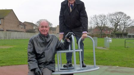 Trevor Wainwright and Bernard Williamson try out the new equipment at Cornfields. Picture: submitted