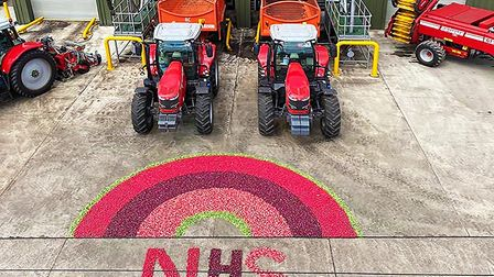 Vegetable growers at G's in Feltwell have made a radish rainbow to thank the NHS for their efforts d