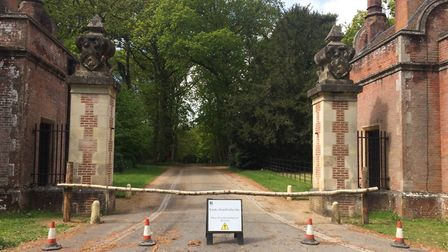 The car park at Felbrigg Hall will reopen on May 21. This picture shows it closed on May 13. Picture