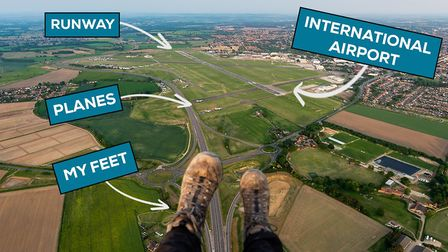 Daniel Jones' view of Norwich Airport, during a paramotoring flight over the airport. Picture: Danie