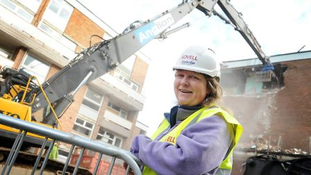 Part of Valentine House on Hillington Square in King's Lynn, is being demolished as part of the re-v