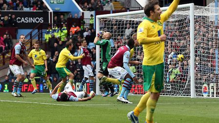 Norwich City's Wes Hoolahan celebrates his assist for Michael Turner's equalising goal at Aston Vill