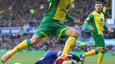 Norwich City striking duo Ricky van Wolfswinkel and Gary Hooper were paired together at Everton in t