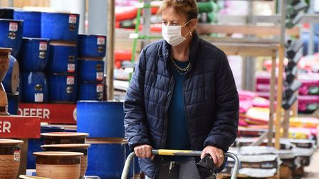A customer wearing a face mask at Thetford Garden Centre. Picture: DENISE BRADLEY