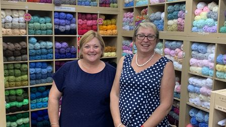 Knit Wits and Fabrics staff member Lisa Waterhouse, left, and co-owner Fiona Joisce. The shop sells