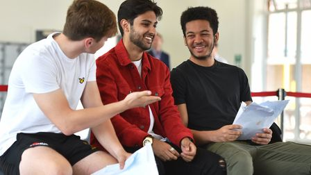 Students receiving their A-level results at Thetford Academy. Picture: James Bass/Inspiration Trust