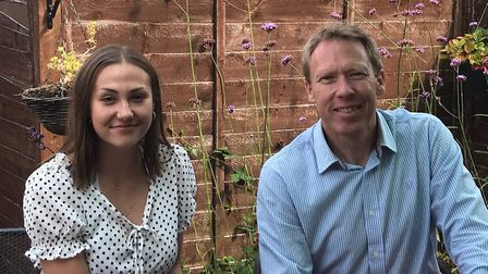 Head girl Caitlin Ellis and headmaster Jon Perriss at Langley School on A Level Results Day 2020. PH