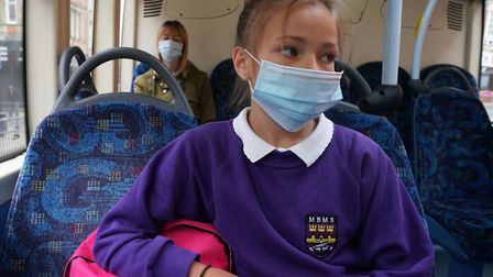 School pupils aged 11 and over will still have to wear a face covering on public transport. Picture: