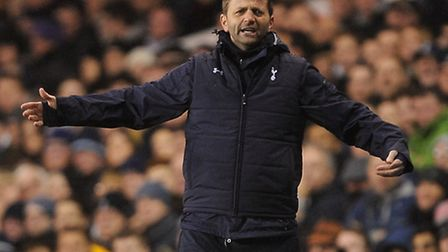 Tottenham Hotspur manager and former Norwich City midfielder Tim Sherwood struts his stuff on the to