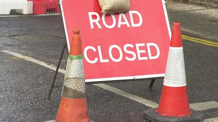 Road closed signs. Picture: Bill Darnell.