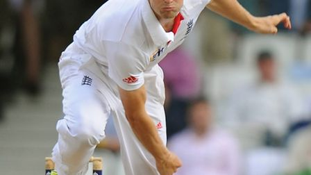 England's Chris Woakes bowling during day two of the Fifth Investec Ashes Test match at The Kia Oval
