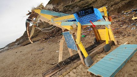 The wooden horse sculpture that has been built on Overstrand beach.PHOTO: ANTONY KELLY