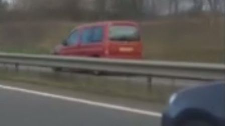A still from the video footage of a driver going the wrong way on the A11 and A14. Picture: Tom Hind
