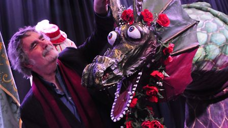Michael Loveday, CEO, Norwich HEART with a snap dragon at the 2014 Norwich Dragon Festival launch at