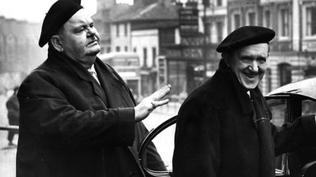 Hollywood comedy stars Oliver Hardy and Stan Laurel pictured on their visit to Norwich in 1954.