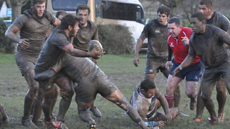 Tim Allen offloading for Holt in their 10-5 win at Chelmsford. Picture: Stuart Young