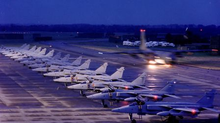 RAF Coltishall Jaguars ready to depart at dawn for Bosnia in 1994.