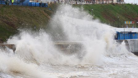 Strong winds and high tides making huge waves at Cromer sea front. Picture: DENISE BRADLEY