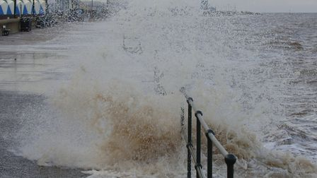 Waves crashed onto the prom at Hunstanton during this morning's high tide Picture: Chris Bishop
