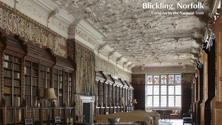 Blickling Hall's famous library, which can now be your Zoom backdrop. Pic: National Trust
