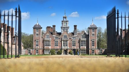 Blicking Hall, which has been selected as the backdrop for video calls. Pic: EDP