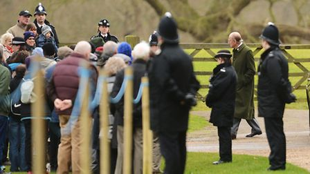 Crowds await the Royal party at Sandringham Church. Picture: Ian Burt