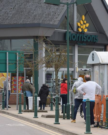 A queue for Morrisons during the first Coronavirus lockdown in Dereham. Picture: DENISE BRADLEY