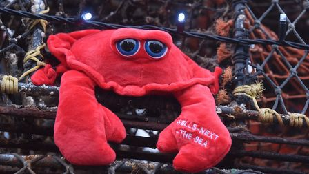 One of the Wells crabs on the crab pot Christmas tree built by the local fishermen at Wells-Next-the