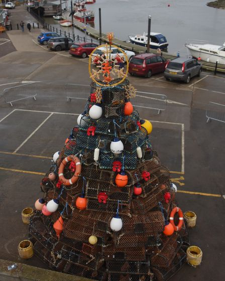 The crab pot Christmas tree, built by the local fishermen, at Wells-Next-the-Sea harbour. Picture: D