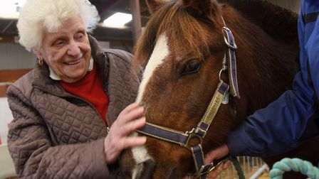 Joyce Walford, from Dove Court Care Home at Wisbech, met pony Roger at the Magpie Centre Open Day la