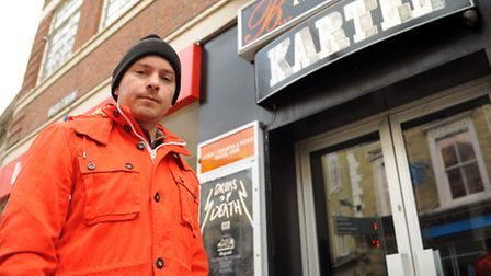 Kartel owner Brad Baxter, outside the club in London Street, pictured after a conservatory roof glas