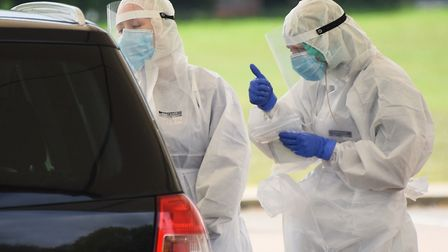 The drive-through coronavirus testing facility at the Norwich Research Park. Picture: Denise Bradley