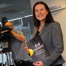 Mustard T.V managing director Fiona Ryder giving an interview to Anglia T.V after winning the local