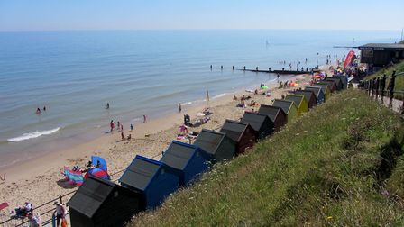 From the beach huts at Mundesley Beach, Emma Wymer witnessed the dog attack.