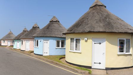 The traditional Norfolk thatched roundhouses chalets at the Hermanus in Winterton. Picture: Jame