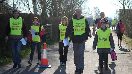 Photos from the 2014 Broadland Half Marathon. Some of the volunteer marshals from Norwich Road Runne