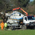 The remains of the helicopter that crashed at Gillingham loaded on a truck. Photo by Simon Finlay.
