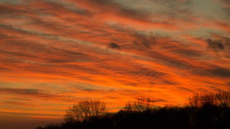 'This was the amazing sunset over Great Ellingham this evening'. Photo by Andrew Stannard.