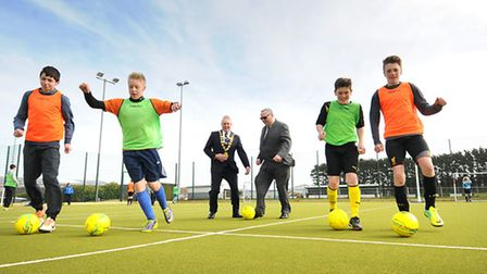 Sheringham's new multi-use games area. East Coast Warriors under 14s team members, left to right, Th