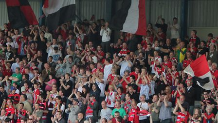 FC United fans always pack Gigg Lane, the ground they share with Bury. Picture: Mark Lee