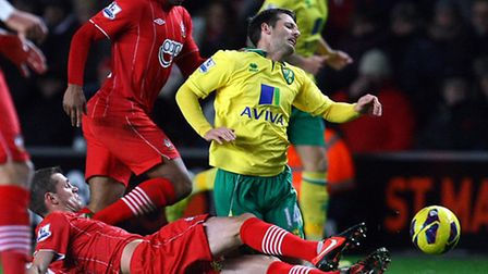 Wes Hoolahan is fouled during Norwich City's trip to Southampton last season.