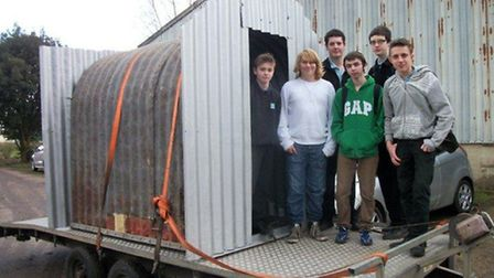 The restored Anderson shelter being delivered at Bressingham Museum. Picture: submitted