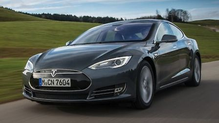 A Tesla Model S all-electric sports car is at the Green Britain Centre at Swaffham on Monday and Tue