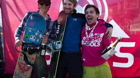 Kyle Wise (centre) after winning the British Snowboardcorss Championships in Tignes. Picture: Laurie
