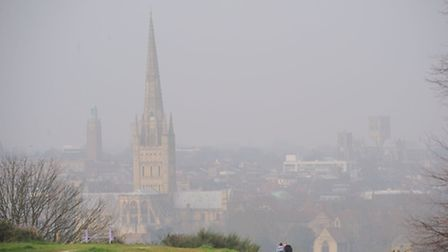 Norwich wakes up to another day of mist and pollution. Photo by Simon Finlay.